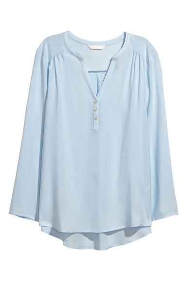 V-neck blouse - Ice blue - Ladies | H&M CN
