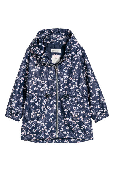 Outdoor jacket with a hood - Dark blue/Floral - Kids | H&M CN