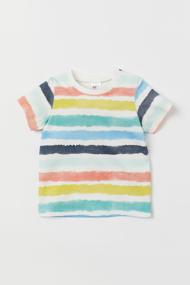 T-shirt with Printed Design - White/striped - Kids | H&M US