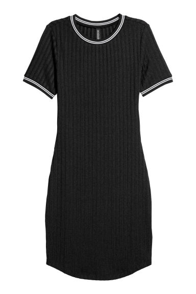 Ribbed dress - Black/White -  | H&M CN
