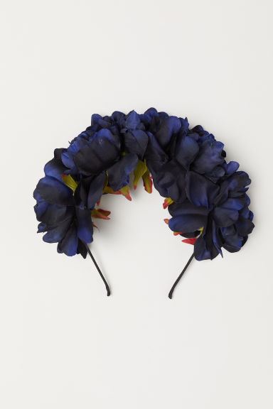 Alice band with flowers - Dark blue -  | H&M