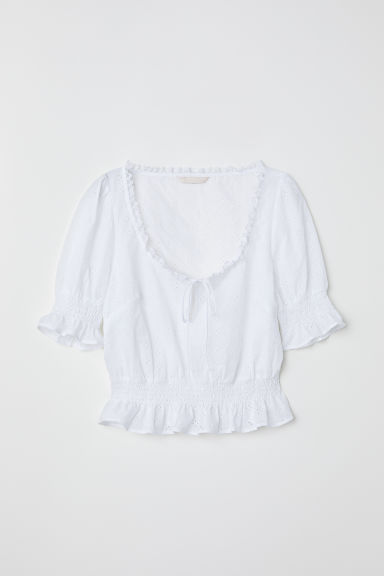 Blouse with smocking - White/Hole-embroidered - Ladies | H&M CN