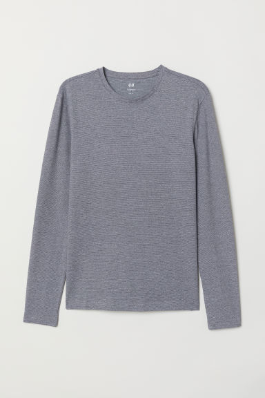 Long-sleeved jersey top - Grey marl - Men | H&M CN