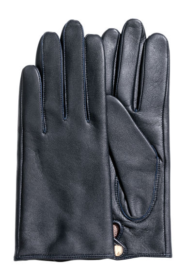 Leather gloves - Dark blue -  | H&M
