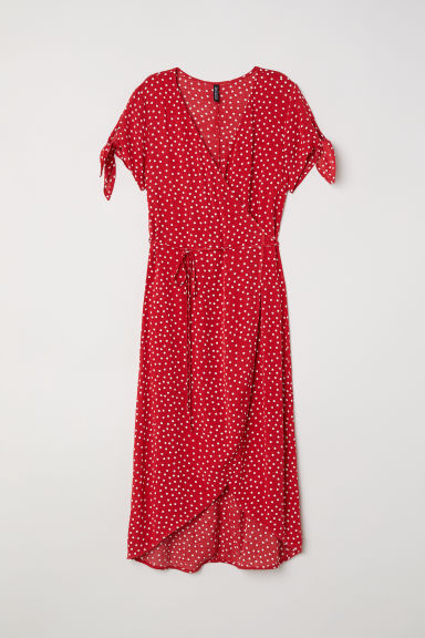 Crêpe wrap dress - Red/Spotted - Ladies | H&M