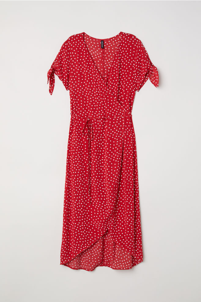 822a56b965db Crêpe wrap dress - Red/Spotted - | H&M ...