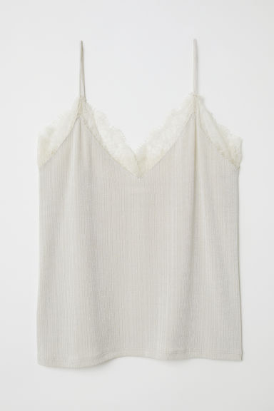 Jersey top with lace - Powder beige - Ladies | H&M CN