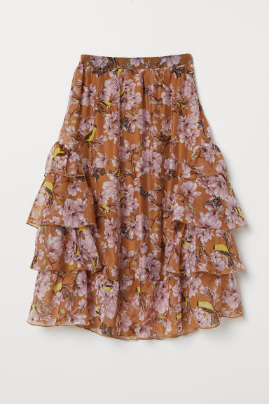 Patterned flounced skirt - Light brown/Floral -  | H&M CN