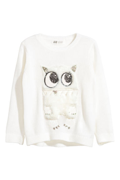 Jumper with sequins - White/Monster -  | H&M CN