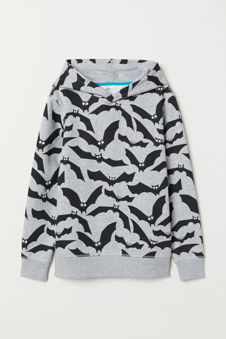 Printed hooded top - Grey marl/Bats - Kids | H&M CN