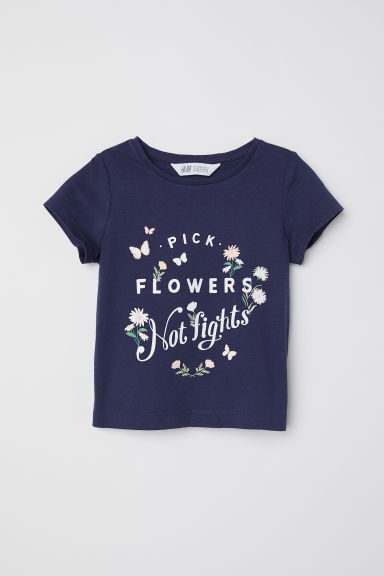 Printed jersey top - Dark blue/Flowers - Kids | H&M