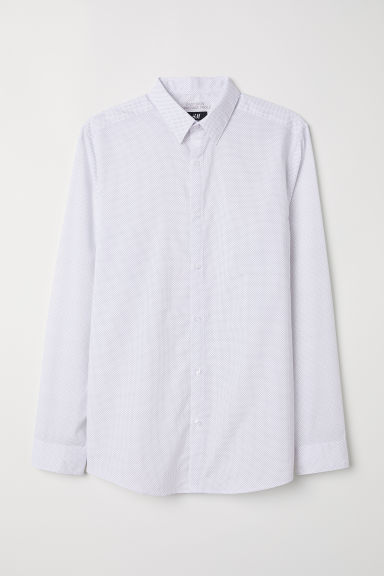 Camisa Slim fit Easy iron - Blanco/Lunares - HOMBRE | H&M ES