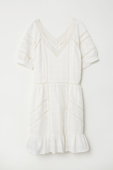 V-neck cotton dress - Natural white - Ladies | H&M