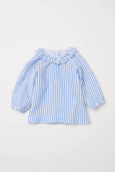 Cotton blouse - White/Blue striped - Kids | H&M GB