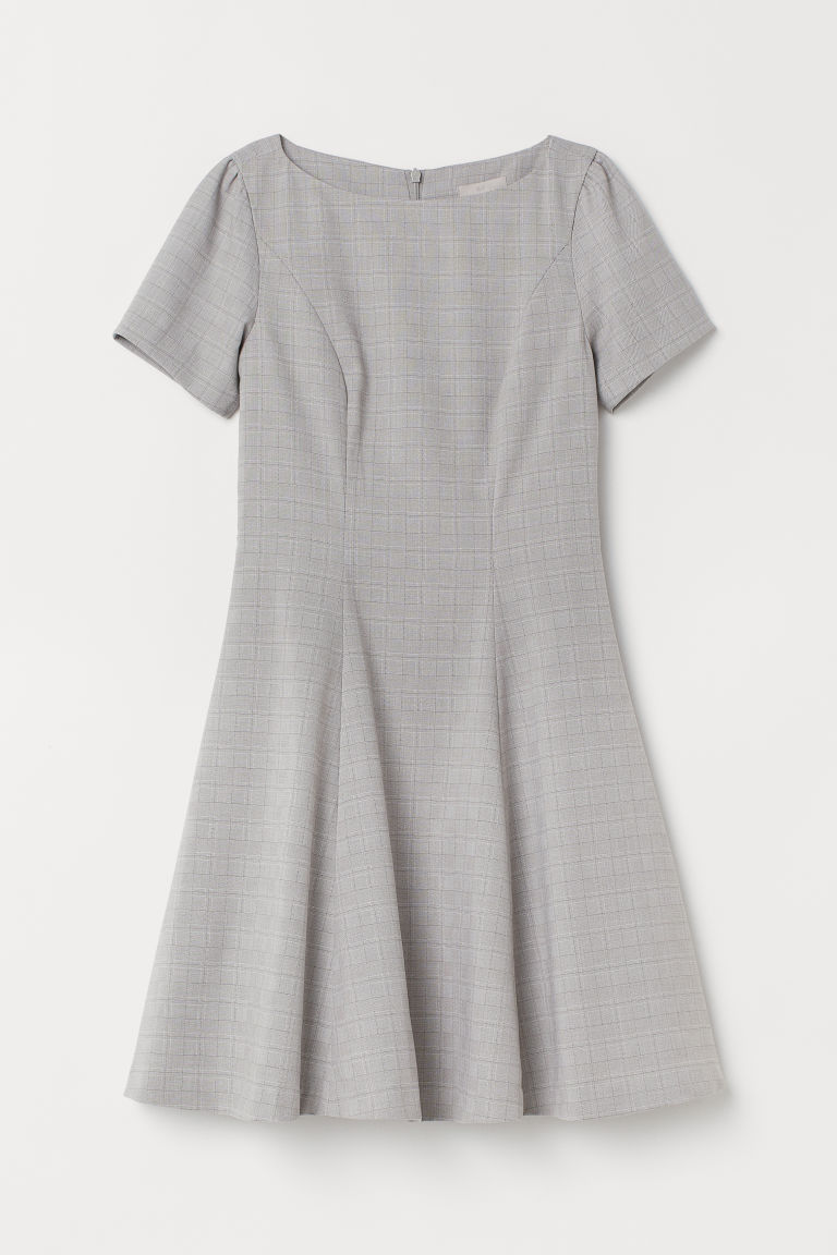 Puff-sleeved Dress - Light gray/checked - Ladies | H&M US