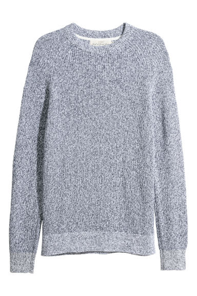 Washed cotton jumper - Blue marl - Men | H&M