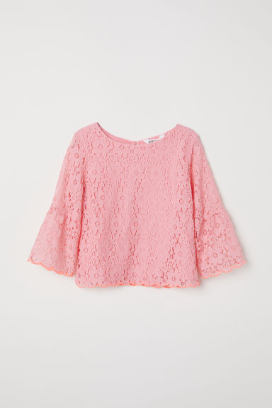 Trumpet-sleeved lace blouse - Light pink - Kids | H&M