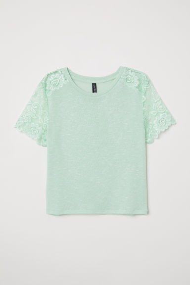 Fine-knit top with lace - Mint green -  | H&M CN