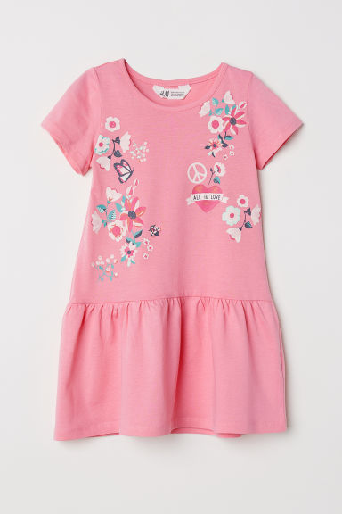 Short-sleeved jersey dress - Light pink/Flowers - Kids | H&M