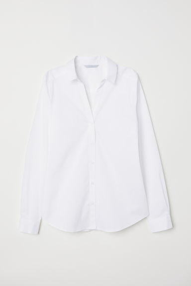 H&M+ V-neck shirt - White -  | H&M