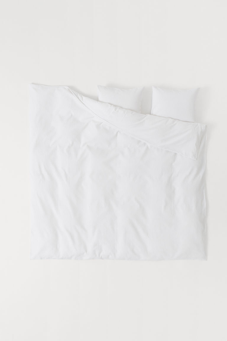 Waffled duvet cover set - White - Home All | H&M CN