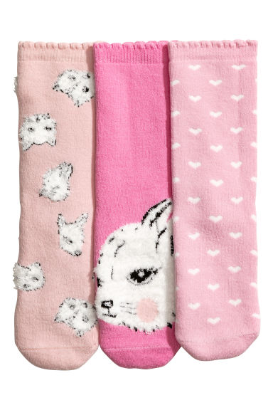 3-pack terry socks - Pink/Animals -  | H&M