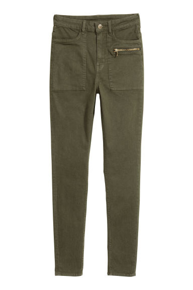 Stretch trousers - Dark khaki green - Ladies | H&M CN