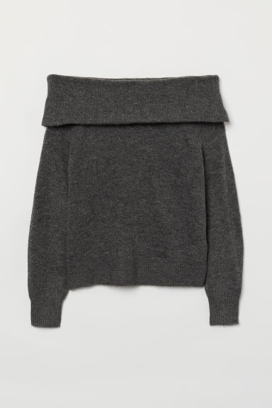Off-the-shoulder jumper - Dark grey marl - Ladies | H&M GB