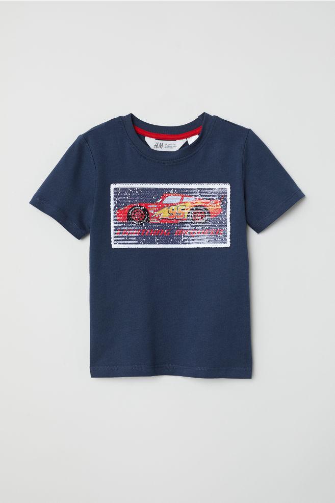 Reversible Sequin T Shirt Dark Bluecars Kids Hm Us