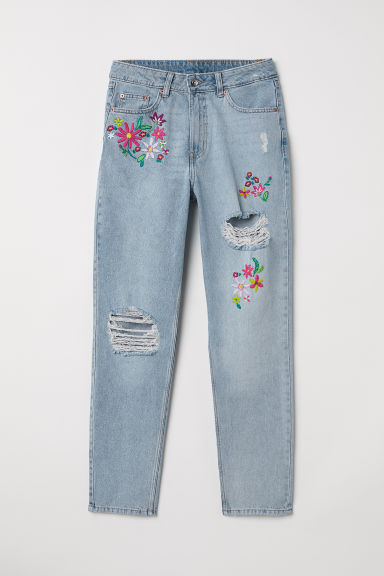 Slim Mom Jeans - Light denim blue/Flowers -  | H&M CN