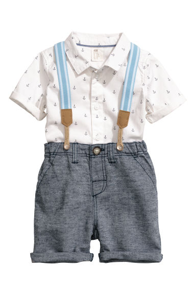 Shirt and shorts - White/Dark blue - Kids | H&M CN