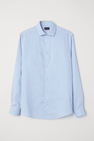 Linen shirt Slim Fit - Light blue -  | H&M CN