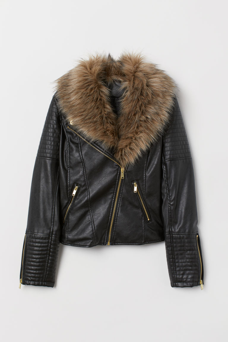 sale super service street price Faux Fur-collar Biker Jacket