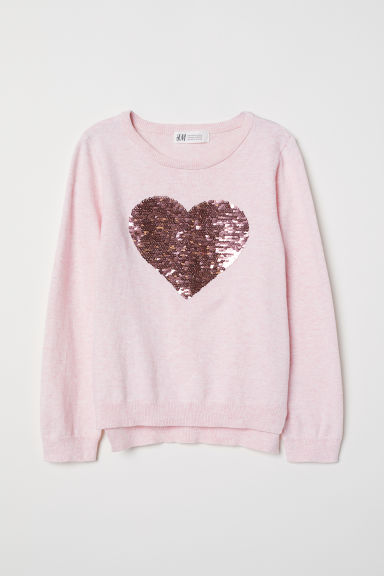 Jumper with a sequined motif - Light pink/Heart - Kids | H&M