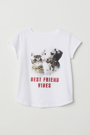Top with reversible sequins - White/Best Friend - Kids | H&M CN