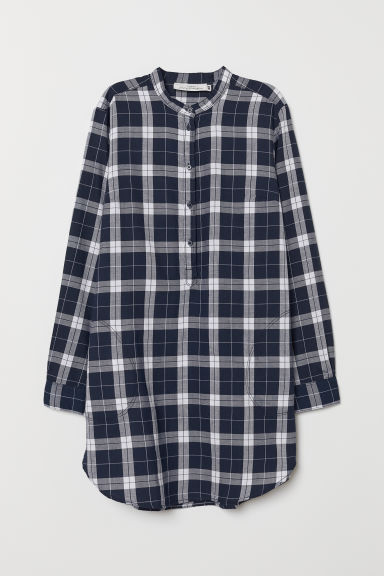 Checked tunic - Dark blue/White checked - Ladies | H&M CN