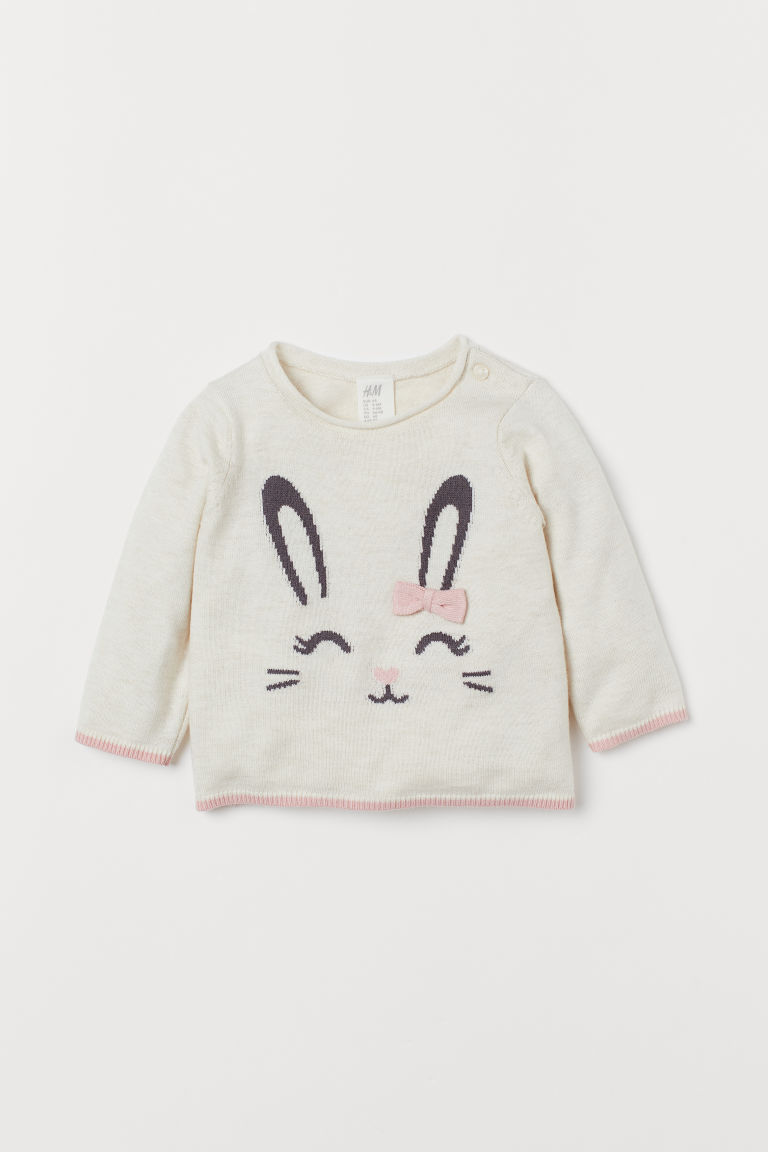 Fine-knit jumper with a bow - Natural white/Rabbit - Kids | H&M IN