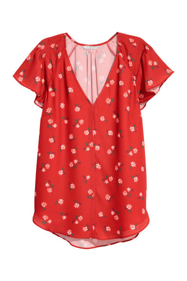 Flounce-sleeved top - Red/Floral -  | H&M