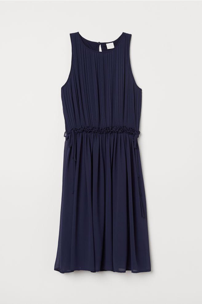 809604014f7 Robe plissée en mousseline - Bleu marine - FEMME