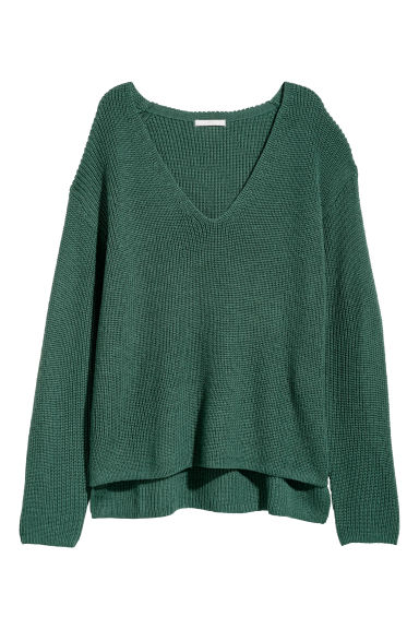 Knitted wool-blend jumper - Dark green - Ladies | H&M CN