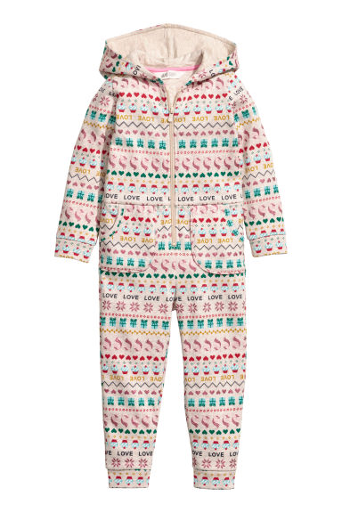 Sweatshirt all-in-one suit - Beige/Multicoloured - Kids | H&M GB