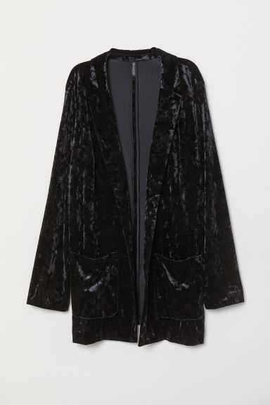 H&M+ Crushed-velvet Jacket - Black - Ladies | H&M US