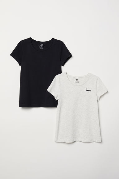 2-pack T-shirts - Black/Light grey marl - Kids | H&M CN