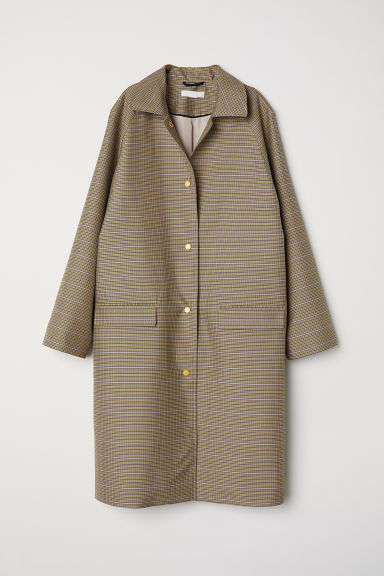 Pattern-weave coat - Beige/Blue checked -  | H&M
