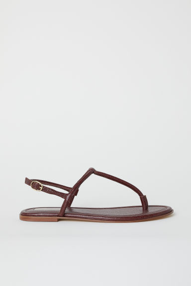 Leather toe-post sandals - Dark red -  | H&M GB