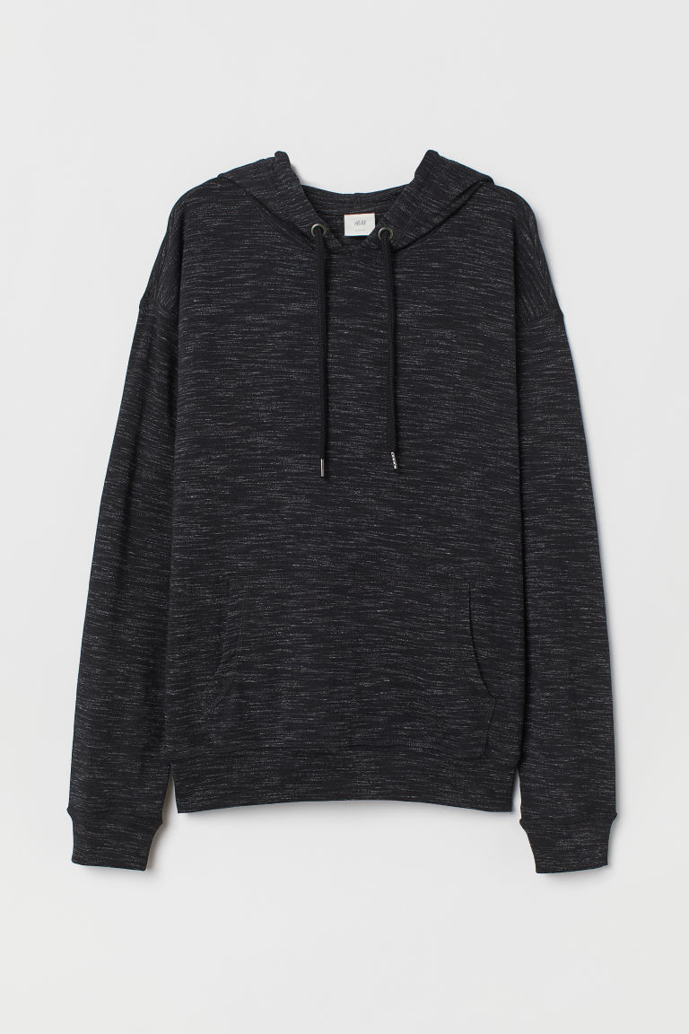 Jersey hooded top - Black marl - Ladies | H&M CN
