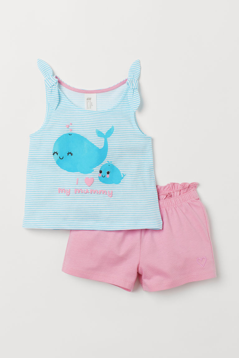Jersey vest top and shorts - Light pink/Whales - Kids | H&M
