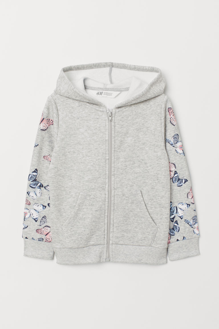 Printed hooded jacket - Grey marl/Butterflies - Kids | H&M CN