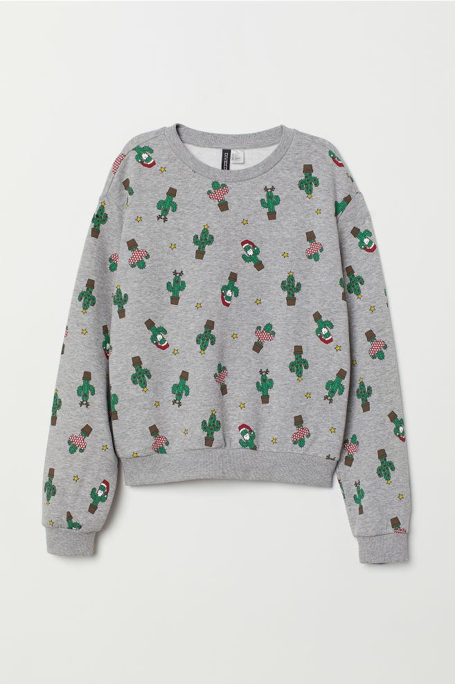 8e95f5df44 ... Short Sweatshirt - Gray melange cacti - Ladies