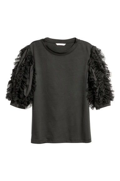 Top with mesh frills - Black -  | H&M CN